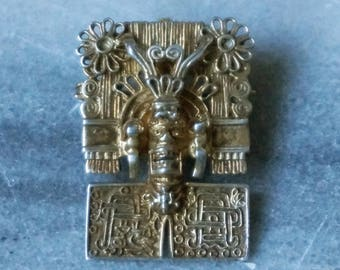 Brooch Pin Pendant, Vintage Mexican, Rare Aztec Brooch Pendant pin Gold plated Over 925