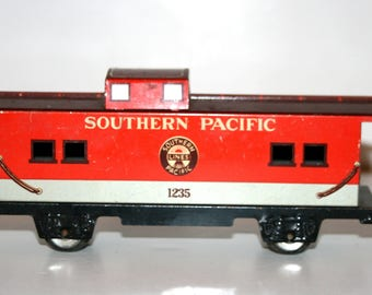 Vintage 1960's MARX O-Gauge Tinplate Southern Pacific Caboose Train Car