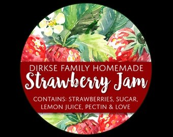 Customized Strawberry Jam Canning Label - Custom Strawberry Jam Labels - Watercolor Style Canning Jar Label - Wide Mouth & Regular Mouth