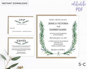 Greenery Wedding invitation Template, Greenery Invitation, Printable Invitation, Botanical Wedding, Wedding Cards, Invitation Template