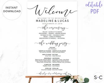 Wedding Program Sign, Welcome Wedding Sign, Program Sign, Wedding Sign, Wedding Poster, Large Wedding Sign, Printable Wedding Sign