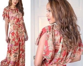 70s Floral Maxi Dress-1970s Boho Festival Floor Length Dress-Fall-Autumn Colors- Kimono Top-Split Sleeves-Bow Accents-M-Med-Medium