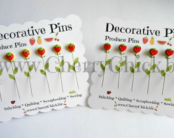 Strawberry Sewing Pins - Embellishment Pins - Gift for Quilters - Decorative Pins - Scrapbooking Pins - Quilting Pins -  Pincushion Pins
