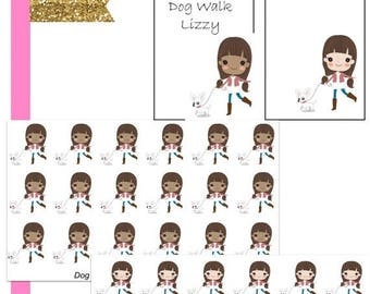 40% Off Sale Lizzy Dog Walk//Planner Character Stickers//EC//HP