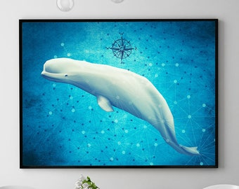Beluga Whale Print, Coastal Decor, Whale Painting, Marine Poster, Ocean Wall Art Decor, Home Decorations, Kids Room (N424)