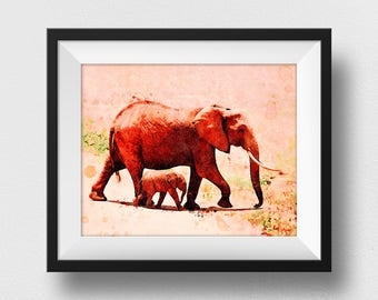 Elephant Family Print, Elephant Family Art, Watercolour Elephant, Kids Room Elephant, Nursery Decor, Mother And Child Wall Art (N327)
