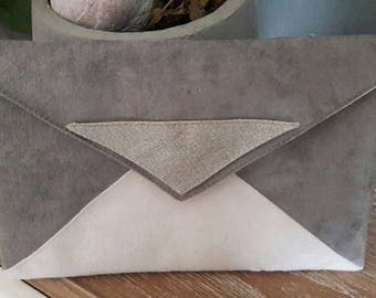 large suede pouch beige and taupe