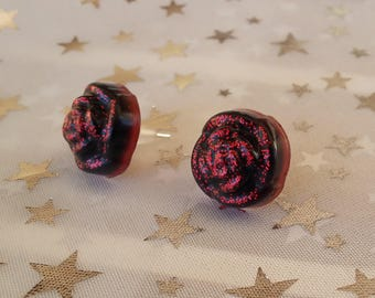 Red and black roses shaped resin earrings