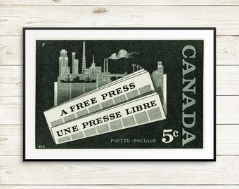 P058 Canada Free Press, A Free Press, Une Presse Libre, journalism students, gifts for journalists, journalism gifts,  1950s art, 1950s