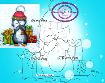 SALE Digital Stamp, Digi Stamp, Digistamp, Snowy Christmas Presents by Conie Fong, Penguin, Christmas, coloring page