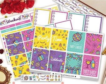Celebration Week Vertical Kit Planner Stickers | Weekly Kit Stickers | Birthday Week