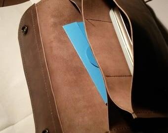 Leather travel wallet handmade