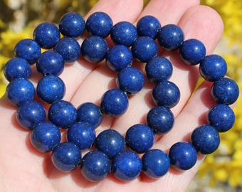 2 LAPIS LAZULI BLUE 10 MM ROUND BEADS. AT38