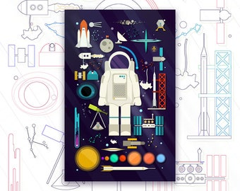 Space Collection Print - Outer Space Print - Astronaut Space Art Poster - Astronomy Decor - Knolling Print - Graphic Design Poster