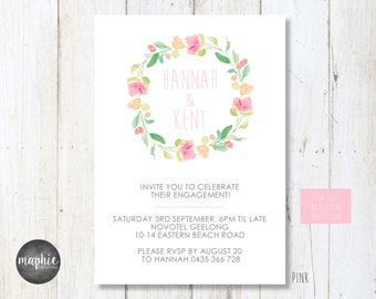 Printable Engagement Invitation, Watercolour Floral Wreath, Personalised Invitation