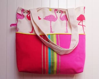 Large tote bag pink flamingos, lined and shoulder carrying, fabric basque striped multicolored flamingos