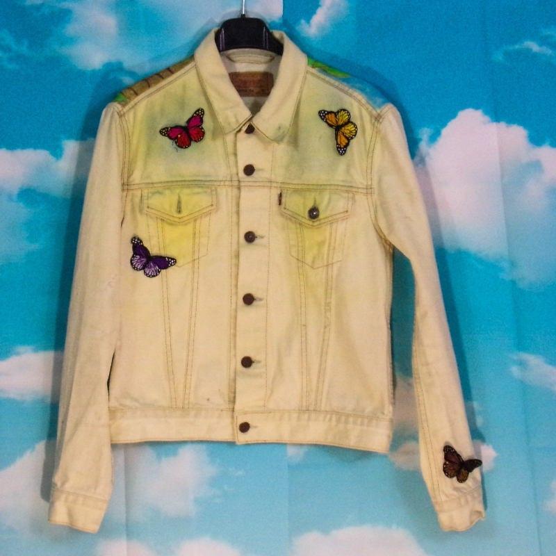 veste jean jaune d lav veste en jean motif alice peint main taille m levis. Black Bedroom Furniture Sets. Home Design Ideas