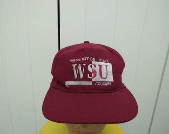 Rare Vintage WASHINGTON STATE COUGARS Embroidered Spell Out Cap Hat Free size fit all