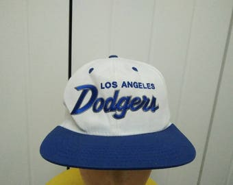 Rare Vintage LOS ANGELES DODGERS Embroidered Spell Out Cap Hat Free size fit all