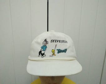Rare Vintage SYLVESTER and TWEETY Big Logo Embroidered Cap Hat Free size fit all