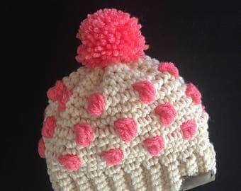 Cream & Pink Colored Baby Beanie / Crochet Baby Hat / Baby Beanie