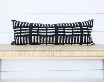 Mudcloth Pillow Cover | Authentic African Mud Cloth | Black and White | 14x36