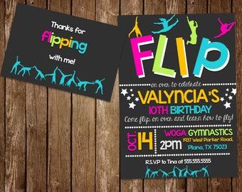 Flip Gymnastics Party Invitation 5x7 and 4x6 thank you card