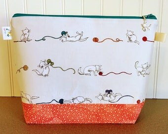 Knitting Project Bag, Knitting Zippered Bag, Knitting Bag, Project Bag, Sock Project Bag, Yarn Bowl, Yarn Tote, Gift for Knitter, Cat Bag