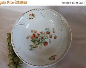 "SALE Antique Victorian White Porcelain 9"" Serving Bowl with Beautiful Wild Strawberries and Gold Accents"