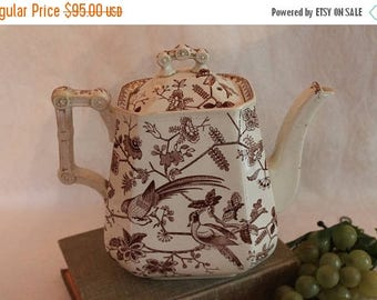 SALE Antique Davenport Ironstone Aesthetic Period Tall Teapot - Orient Pattern with Birds, English Brown Transferware