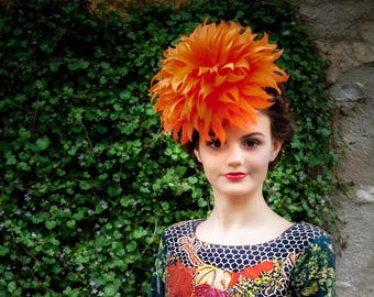 Orange Feather Flower Fascinator Headpiece Handmade