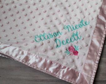 Custom baby blanket etsy personalized baby blanket custom baby blanket baby name blanket baby gift idea negle Images