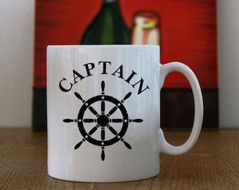 Ships Captain Mug, Ships Wheel Mug, Captain of Ship Mug, Captains Coffee Mug, Captain & Ships Wheel Mug, Sailors Coffee Mug, Sailing Mug.