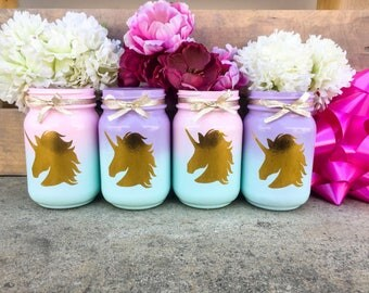 SALE! Set of 10 unicorn jars! Unicorn centerpieces. Unicorn party decor. Unicorn mason jars. Unicorn decorations. Unicorn birthday decor.