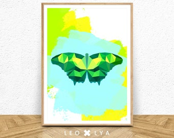 Butterfly printable wall art, minimalist art, colored art, geometry print, kids room decor, instant download, turquoise print, multicolor