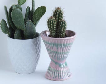 Vintage Glazed USA Pottery Planter Vase Pink and Green Hourglass Inspired Mid Century Mod Design, Unique Pottery Vase Planter
