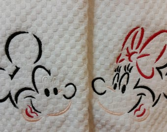 Mickey and or Minnie Embroidered Hand Towels - Mickey Mouse and or Minnie Mouse Towels - Mickey and Minnie Golf Towels - Disney Home Decor