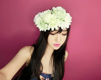 Light Green Big Flowers Hair Flowers Crown/Flower Wreaths-Limited Edition