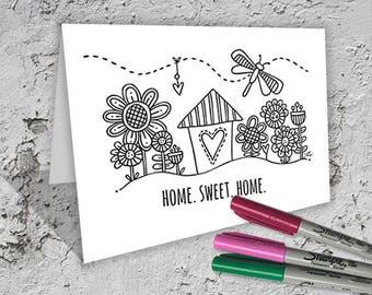 Home Sweet Home Folded Card to Colour - Digital Download - Original Doodle Design
