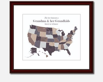 Grandma Poem Unique Long Distance Gift 2 Map Art Two Map Print Personalized State Country Distance Present Birthday