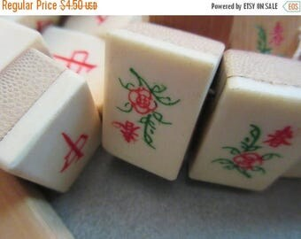 ON SALE 15% OFF Bamboo Mahjong Tiles Beads Side Drilled 10pcs