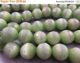 ON SALE 15% OFF Spring Green Cat's Eye Faceted Round 10mm Beads 41pcs