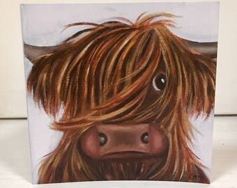 Highland Cow card - cute cow card - animal art card