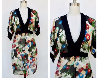 kimono floral print dress / medium