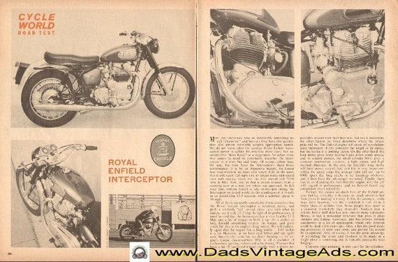 1965 Royal Enfield Interceptor Motorcycle Road Test 4-Page Article #d65ca25