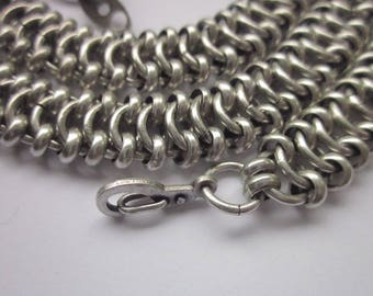 Antiqued Silver-plated Brass Chain, 9mm Wide Flat Chain, 23 inches Length with End Fasteners, Finished Chain Necklace