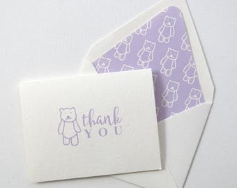 Children's Thank You Cards - Purple Bear Thank You Card - Purple Bear Stationery