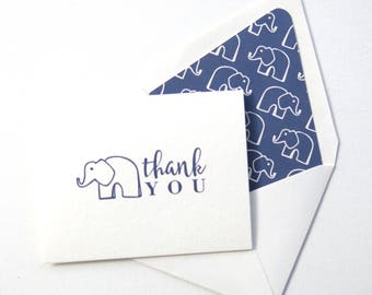 Children's Thank You Cards - Blue Elephant Thank You Card - Blue Elephant Stationery