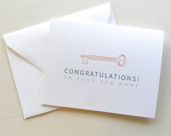 Real Estate Agent Cards - Congratulations on Your New Home - Realtor CardS - Key in Copper, Navy and Blue