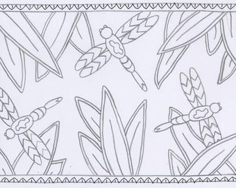 Whimsy Rugs Rug Hooking Pattern - Dreamin' Dragonflies - Three Sizes - Monks Cloth or Linen